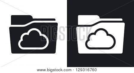 Vector cloud folder icon. Two-tone version on black and white background