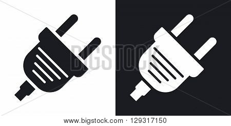 Vector electric plug icon. Two-tone version on black and white background