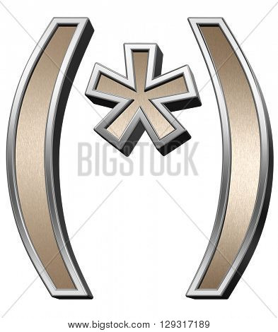 Parenthesis, asterisk from brushed copper with silver frame alphabet set, isolated on white. 3D illustration.