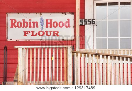EARLTOWN CANADA - MAY 07 2016: Vintage Robin Hood Flour sign on rural exterior wall. Robin Hood Flour is a popular flour brand produced by Horizon Milling.