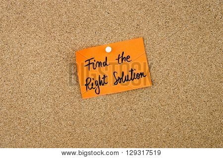 Find The Right Solution Written On Orange Paper Note