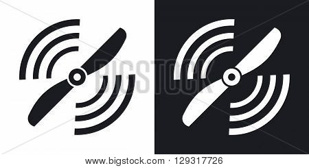 Vector airplane propeller icon. Two-tone version on black and white background