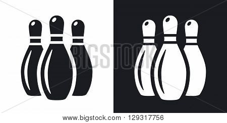 Vector bowling pins icon. Two-tone version on black and white background