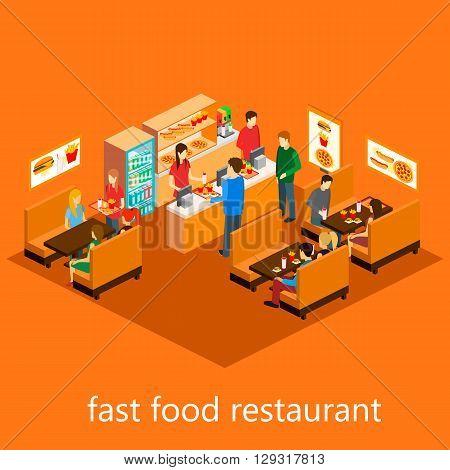isometric fast food restaurant. Flat gesign. 3d illustration.