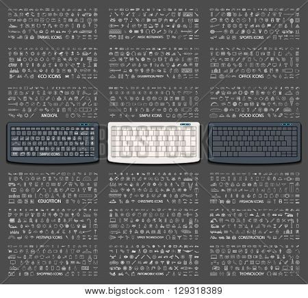 vector illustration of keyboard with different icon on keys for travel, music, sports, eco, office, medical, food, education etc