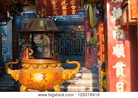 Bangkok Thailand - March 11 2016 : Thai people pray in shrine at Xuan Tian Shang Di (Tiger God Shrine) is the most important shrine in Bangkok Thailand.