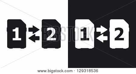Vector Change SIM cards Icon. Two-tone version on black and white background