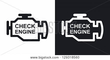 Vector check engine icon. Two-tone version on black and white background