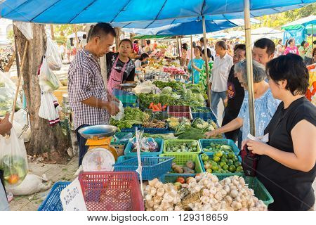 Bangkok Thailand - April 14 2016 : Thai exotic vegetables in market. Like the charming people exotic vegetables greets you on almost every corner in Thailand.