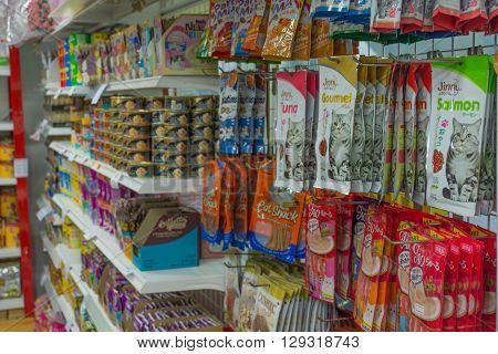 Bangkok Thailand - April 22 2016 : Many types of pet food in pet shop.