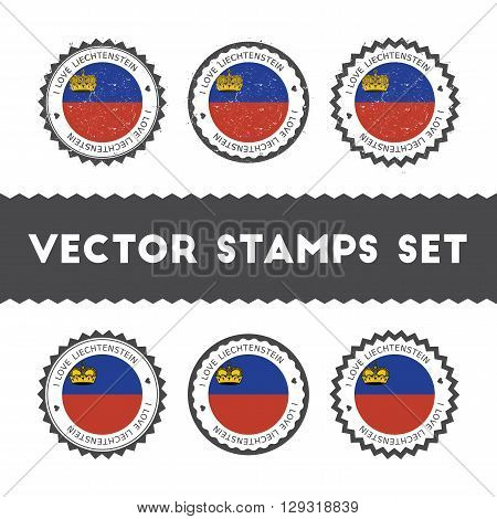 I Love Liechtenstein Vector Stamps Set. Retro Patriotic Country Flag Badges. National Flags Vintage