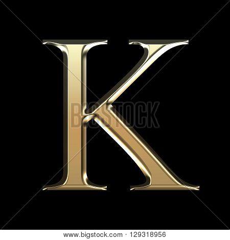 Golden Matte Letter K, Jewellery Font Collection.