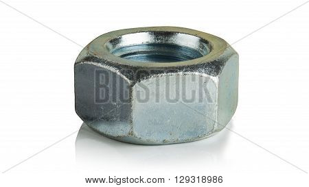 Galvanized steel nut on a white background