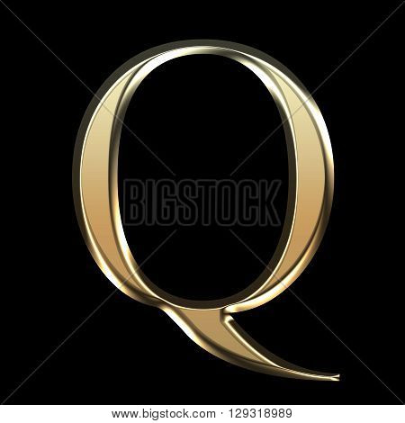 Golden Matte Letter Q, Jewellery Font Collection.