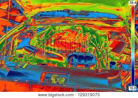Thermal infrared Image of the Car Engine