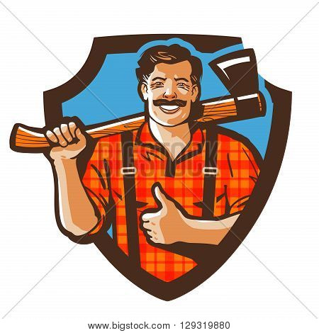 bearded canadian woodcutter with axe in plaid shirt