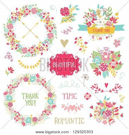 Wedding vintage elements collection. Romantic hand drawn floral set with frames, flowers, leaves and ribbons. Romantic vector elements for card. Wedding and romantic theme.