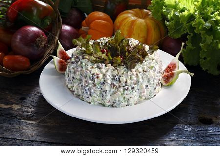 mayonnaise with potatoes and carrots