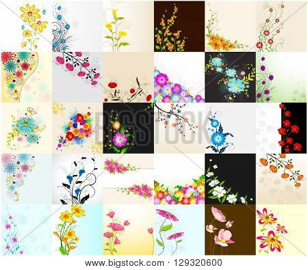 vector illustration of collection of floral background