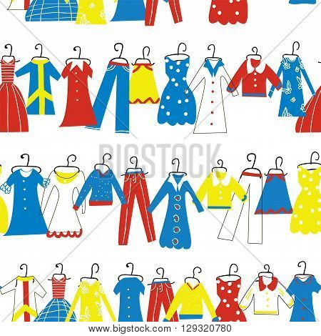 Clothes seamless pattern for tailor shop or atelier. Vector graphic illustration.