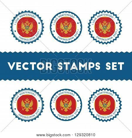 I Love Montenegro Vector Stamps Set. Retro Patriotic Country Flag Badges. National Flags Vintage Rou