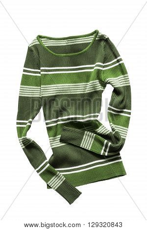 Green striped crumpled pullover isolated over white