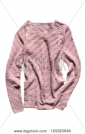 Pink crumpled knitted pullover on white background