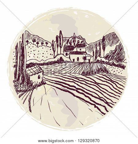 Traditional tuskany landscape sketch for the label or background. Vector graphic illustration