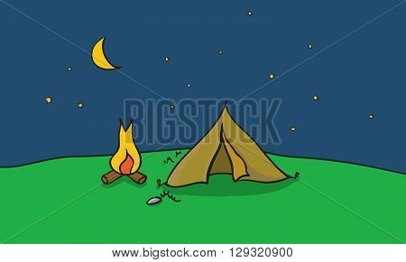 Vector illustration of camping place with tent and fire place. Outside camp at clear night sky. Scene with summer trip destination.
