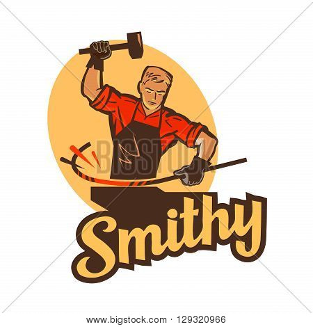 smithy, blacksmith label and logo. vector illustration