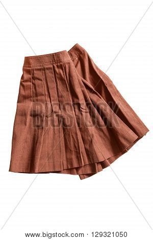 Terracotta pleated skirt crumpled on white background
