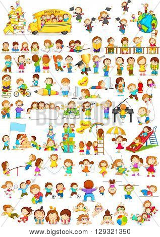 vector illustration of children doing different fun activities liking painting, studying, sports and music
