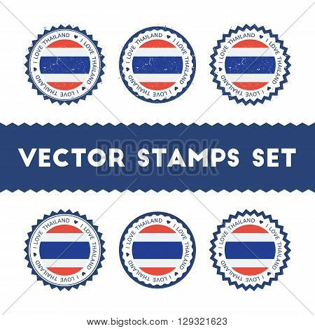 I Love Thailand Vector Stamps Set. Retro Patriotic Country Flag Badges. National Flags Vintage Round