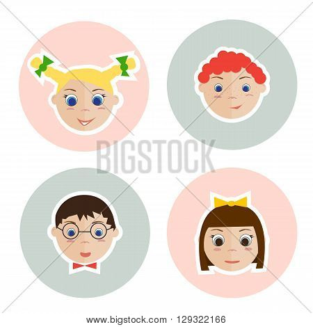 Isolated children faces on the circle. Two little girl and two boy.