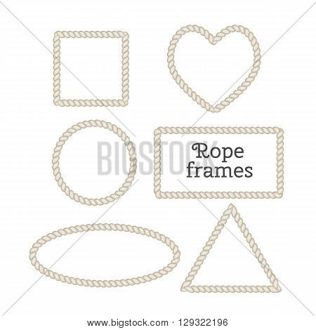 Vector set of isolated frames from rope. Heart frame, round frame, square frame, rectangular frame, triangle frame.
