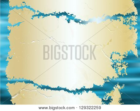 Abstract water background with vintage cracked torn parchment