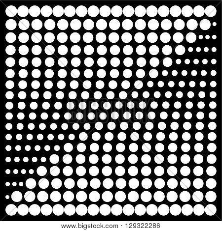 Halftone design elements, dot pattern, dots background the design of the square. White on black background vector illustration