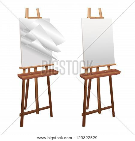 Wooden easel on a white background. Wooden easel template for text, ad, advertising. Isolated easel is turned three-quarters of white sheets of paper fluttering in the wind. Vector illustration