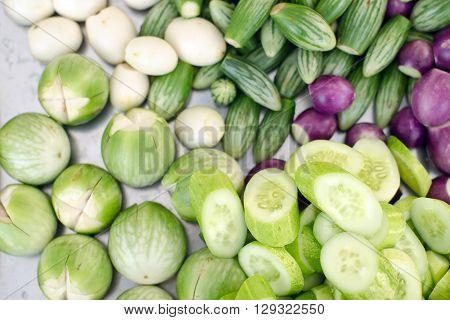 Mixed vegetables (Cucumber eggplant aubergine and brinal)