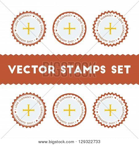 I Love Guernsey Vector Stamps Set. Retro Patriotic Country Flag Badges. National Flags Vintage Round
