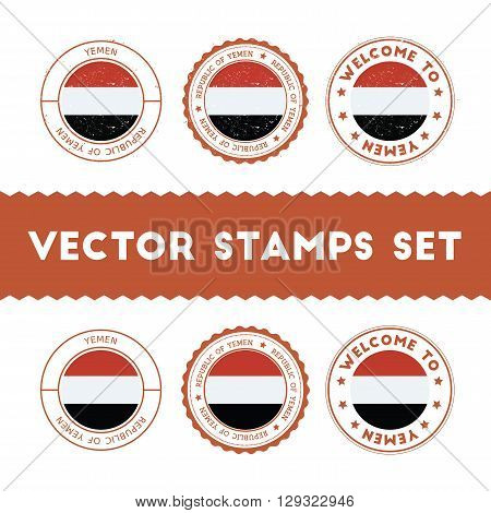 Yemeni Flag Rubber Stamps Set. National Flags Grunge Stamps. Country Round Badges Collection.
