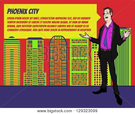 Presentation on background of city.  Businees man in the suit. Character with bubble talk. Speech presentation of business product, project, speech at conference. Conference in Phoenix