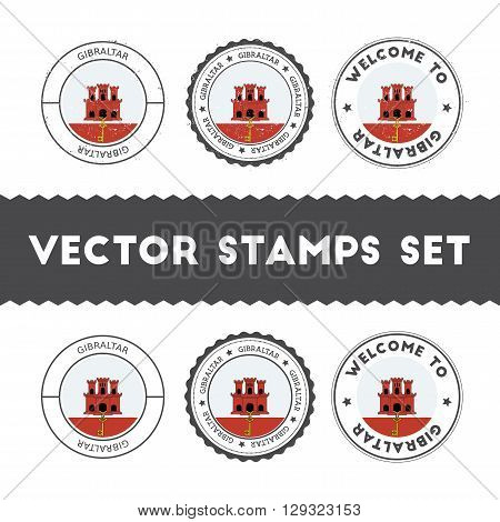Gibraltar Flag Rubber Stamps Set. National Flags Grunge Stamps. Country Round Badges Collection.