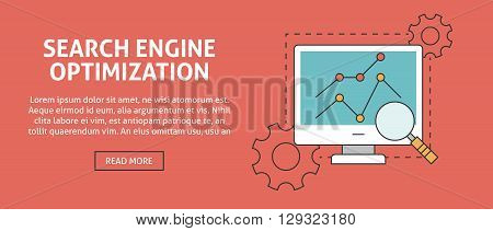 Search engine optimization concept banner.  Outline icons for web, search engine optimization