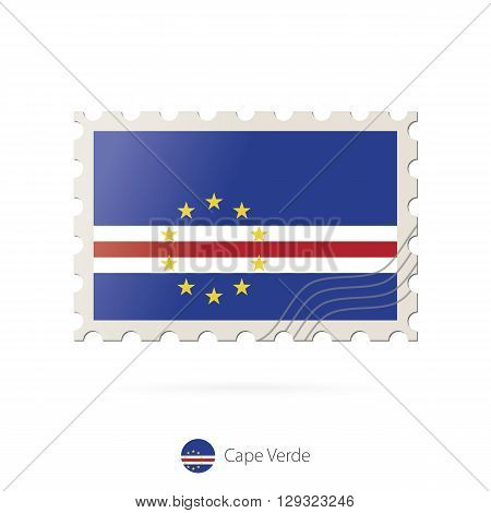 Postage Stamp With The Image Of Cape Verde Flag.