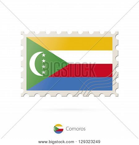 Postage Stamp With The Image Of Comoros Flag.