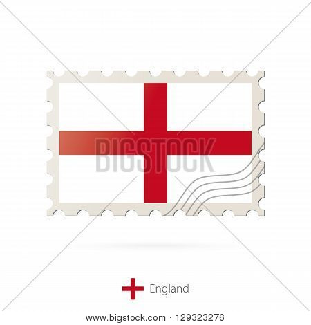 Postage Stamp With The Image Of England Flag.