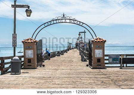 Capitola,California,USA - July 13, 2015 : The entrance of the of the Capitola Wharf
