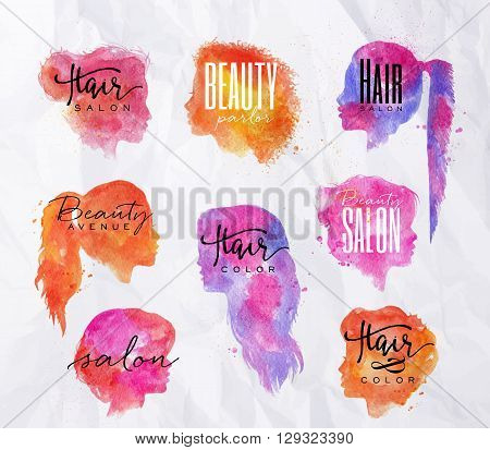 Set of beauty salon female silhouettes with inscriptions drawing with color ink on crumpled paper background