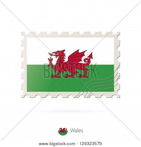 Postage Stamp With The Image Of Wales Flag.